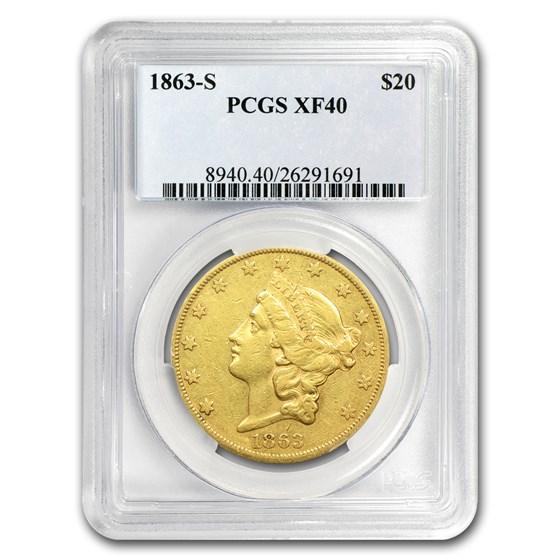 1863-S $20 Liberty Gold Double Eagle XF-40 PCGS