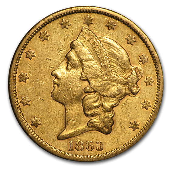 1863-S $20 Liberty Gold Double Eagle XF Details (Cleaned)