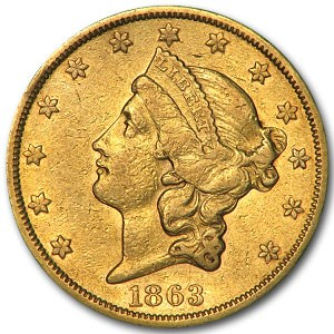 1863-S $20 Liberty Gold Double Eagle XF