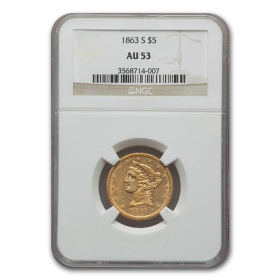 1863-S $5 Liberty Gold Half Eagle AU-53 NGC