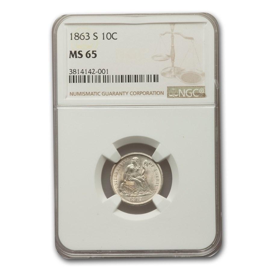 1863-S Liberty Seated Dime MS-65 NGC