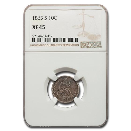 1863-S Liberty Seated Dime XF-45 NGC