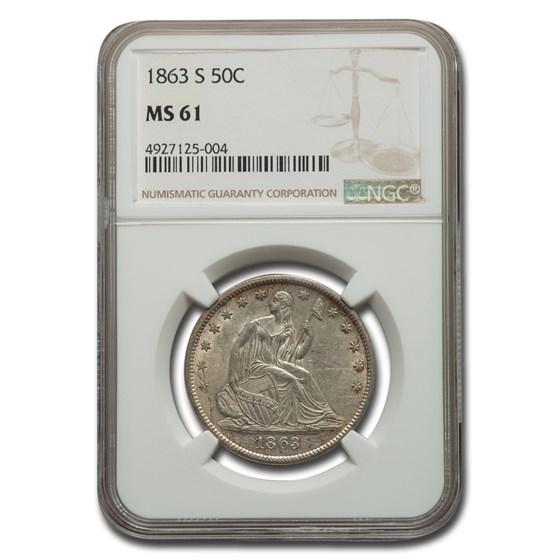1863-S Liberty Seated Half Dollar MS-61 NGC