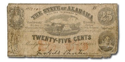 1863 State of Alabama 25 Cent Note Good (CR-5 & Rarity -6)