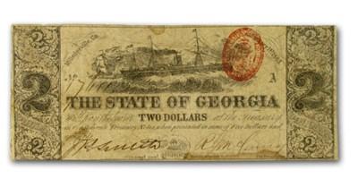 1863 State of Georgia $2.00 Note (CR-11a) Good Rarity-5