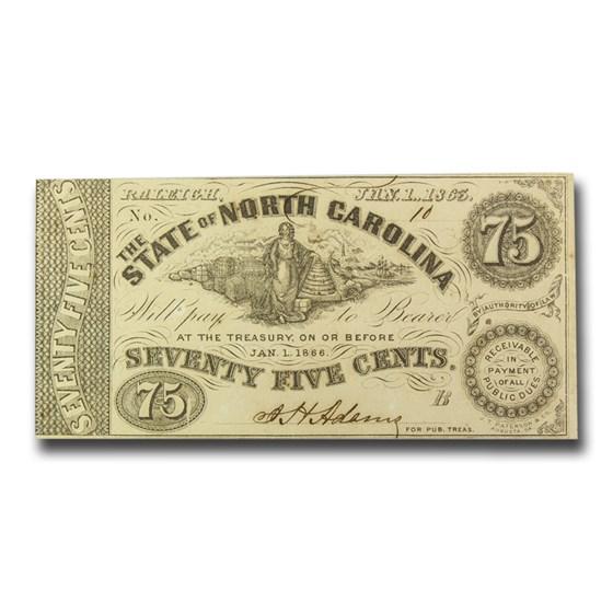 1863 The State of North Carolina $0.75 Cr#134 VF