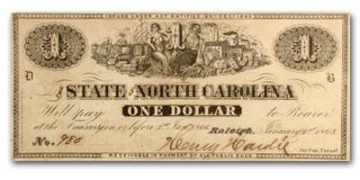 1863 The State of North Carolina $1.00 Cr#132 XF