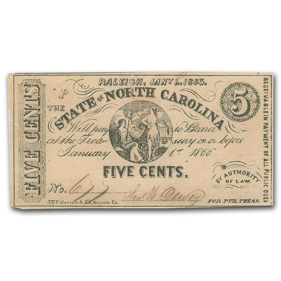 1863 The State of North Carolina 5 Cents Cr#148 AU