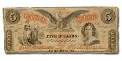 1863 Union Bank, Philadelphia, PA $5.00 PA-505, Fine