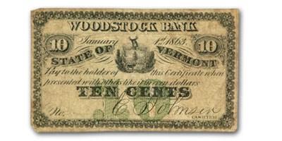 1863 Woodstock Bank, Woodstock, VT $.10 Note UNLISTED Fine