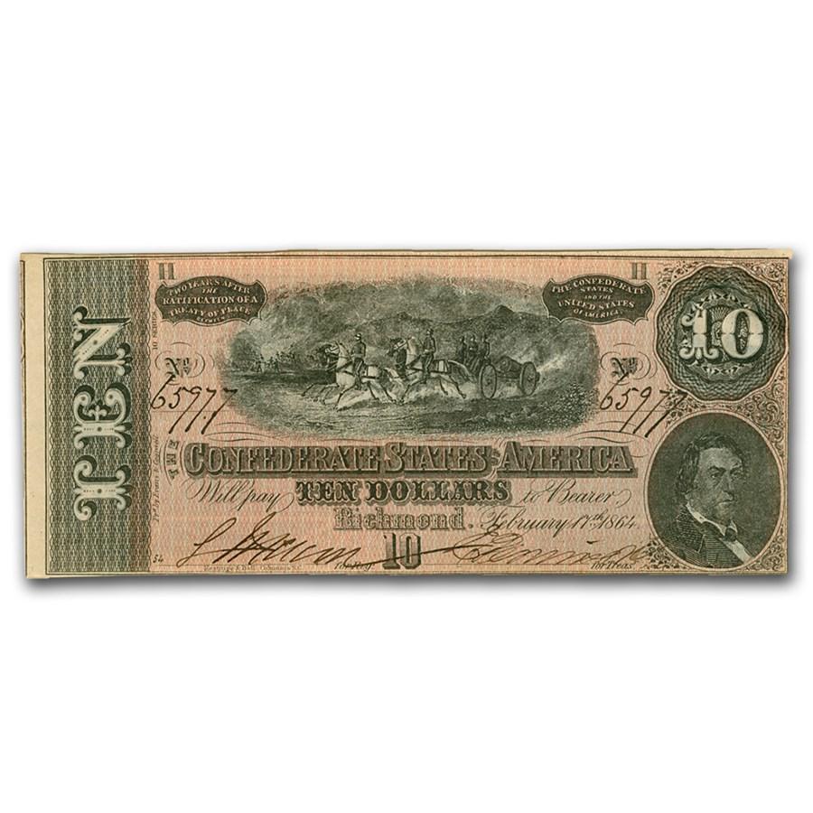 1864 $10 (T-68) Horses Pull Cannon AU