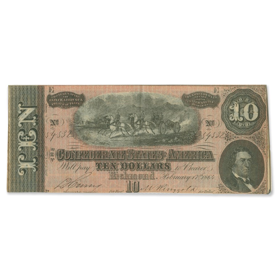 1864 $10 (T-68) Horses Pull Cannon XF