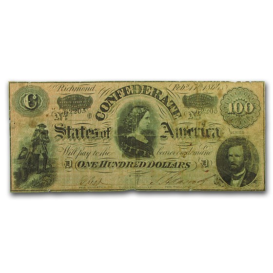 1864 $100 (T-65) Lucy Pickens VG