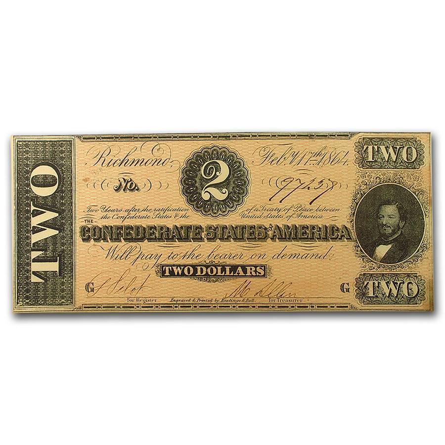 1864 $2.00 (T-70) Judah Benjamin CCU