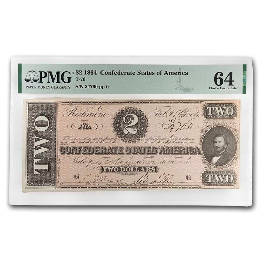 1864 $2.00 (T-70) Judah Benjamin Choice CU-64 PMG
