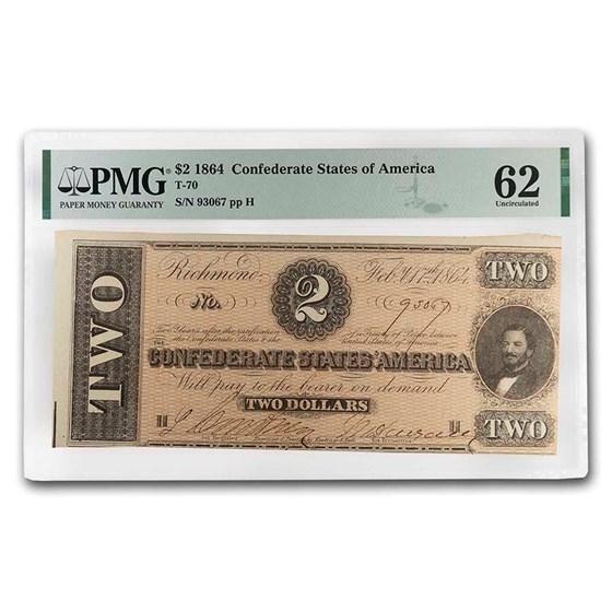 1864 $2.00 (T-70) Judah Benjamin CU-62 PMG