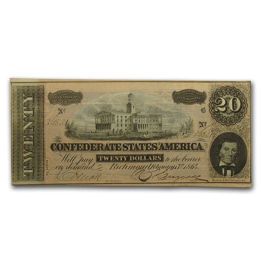 1864 $20 (T-67) Capitol @ Nashville, TN AU