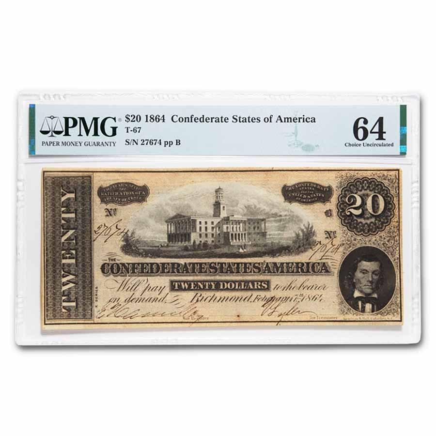 1864 $20 (T-67) Capitol @ Nashville, TN Choice CU-64 PMG