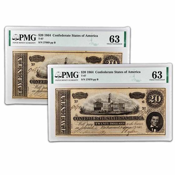 1864 $20 (T-67) Capitol @ Nashville, TN CU-63 PMG (2 Consecutive)