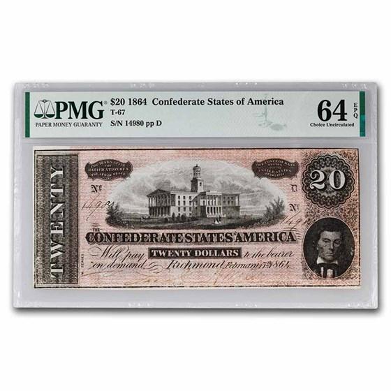 1864 $20 (T-67) Capitol @ Nashville, TN CU-64 EPQ PMG