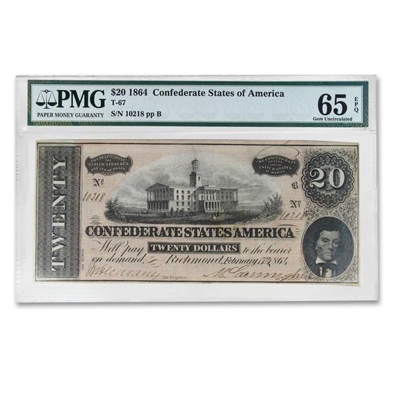 1864 $20 (T-67) Capitol @ Nashville, TN Gem CU-65 EPQ PMG
