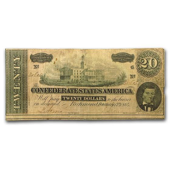 1864 $20 (T-67) Capitol @ Nashville, TN VG-VF