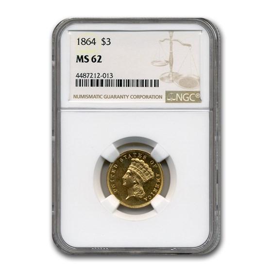 1864 $3 Gold Princess MS-62 NGC