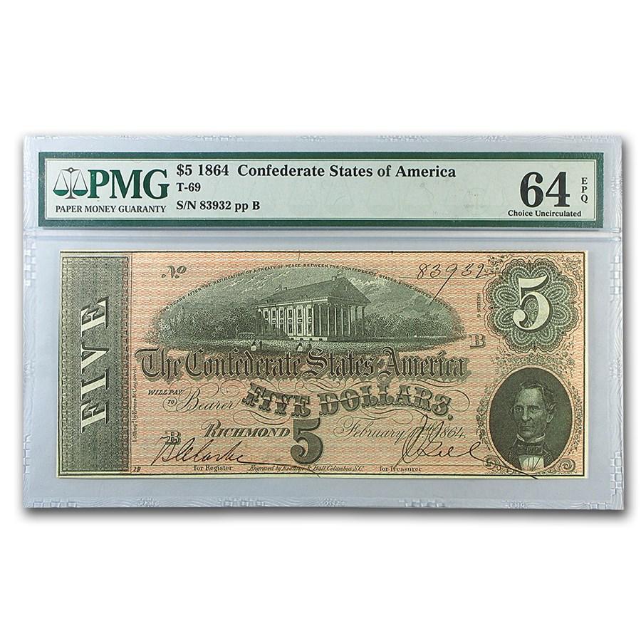 1864 $5.00 (T-69) Capitol @ Richmond, VA CU-64 EPQ