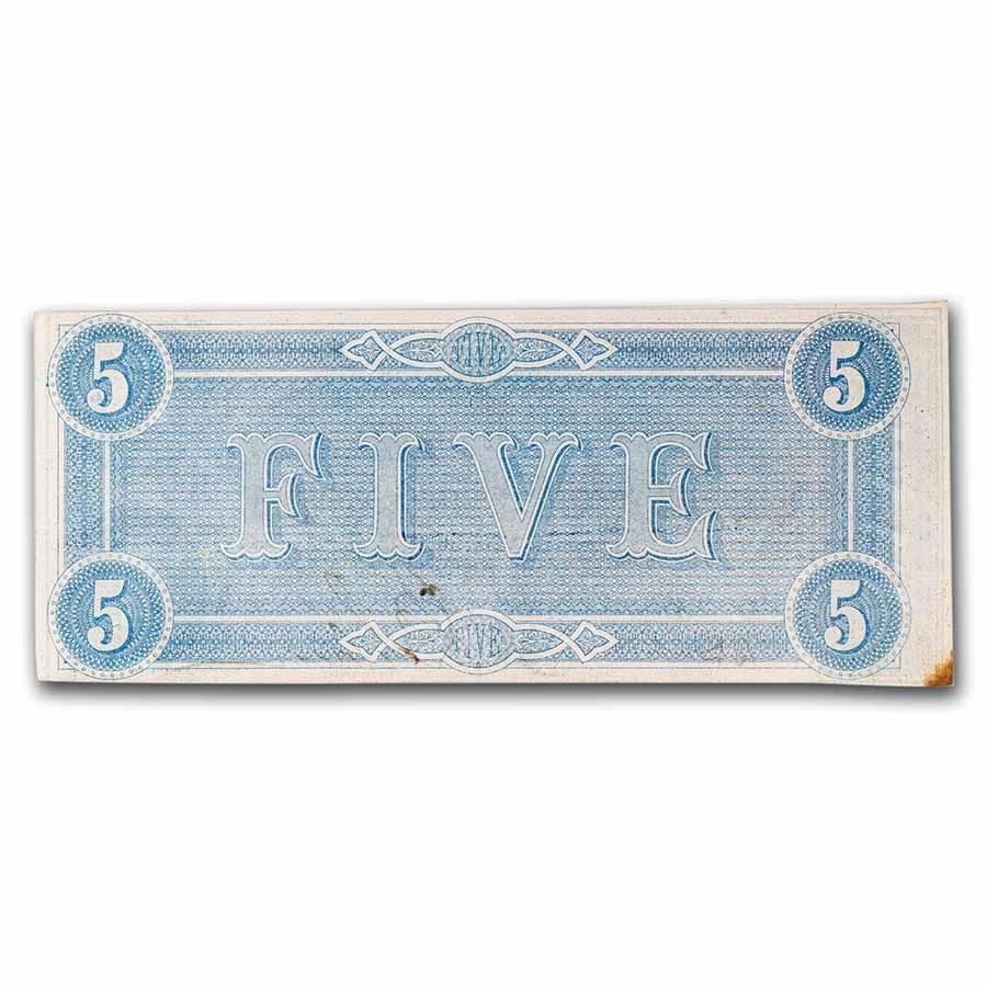 1864 $5.00 (T-69) Capitol @ Richmond, VA CU Details