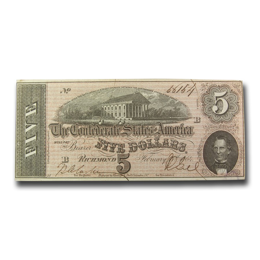 1864 $5.00 (T-69) Capitol @ Richmond, VA CU