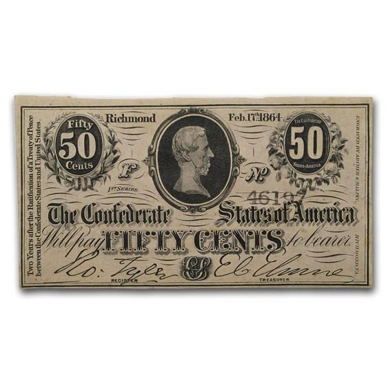 1864 50 Cents (T-63) Jefferson Davis CU