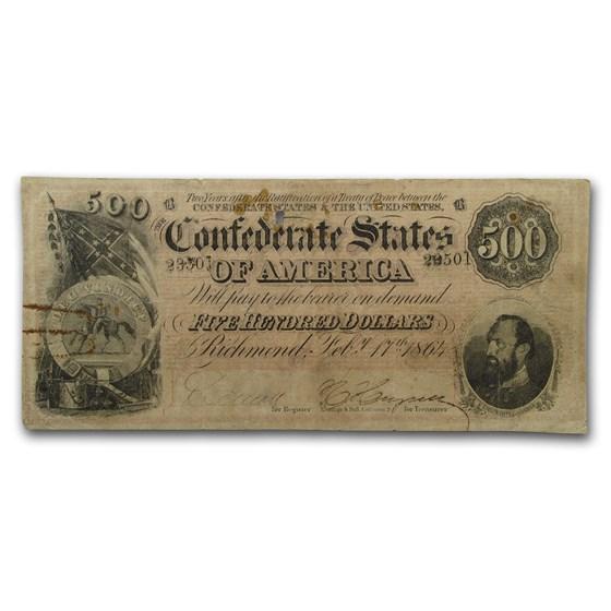 1864 $500 (T-64) Stonewall Jackson VF Details