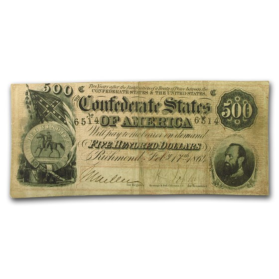 1864 $500 (T-64) Stonewall Jackson VF
