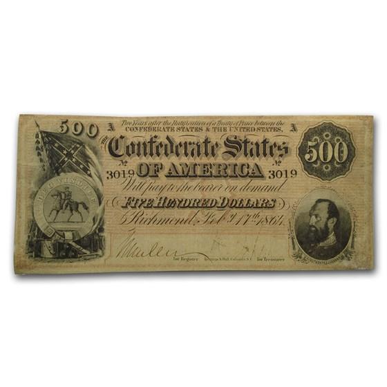 1864 $500 (T-64) Stonewall Jackson VG
