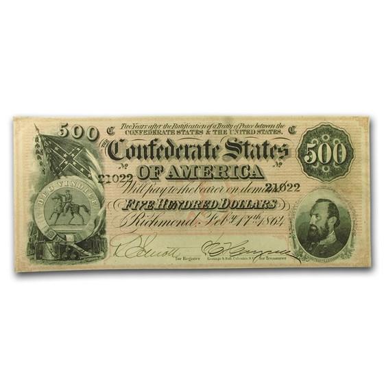 1864 $500 (T-64) Washington-Jackson AU