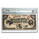 1864-65 $20.00 Compound Interest Treasury Note Lincoln VF-20 PMG
