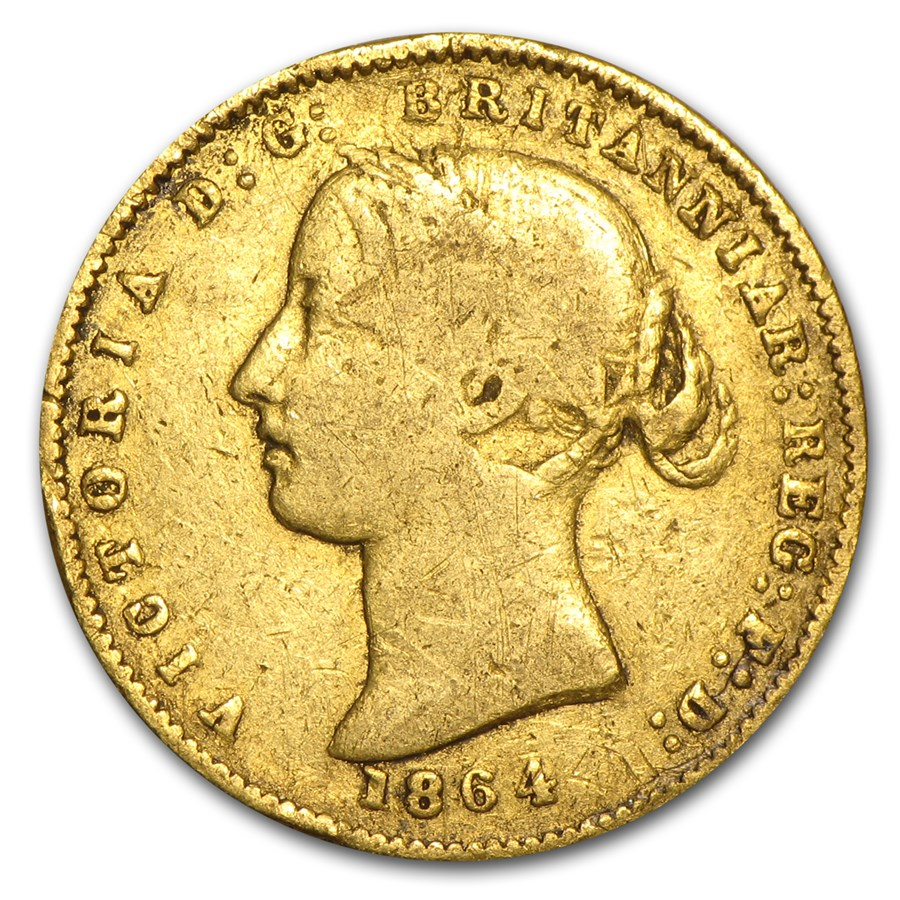 1864 Australia Gold 1/2 Sovereign Victoria Wreath Type Avg Circ