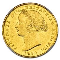 1864 Australia Gold Sovereign Victoria AU-58 NGC