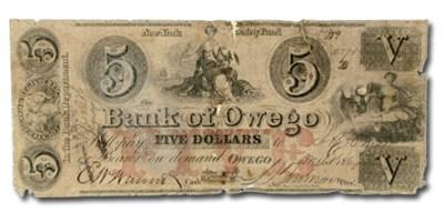 1864 Bank of Owego, NY $5 NY-2155 Fine COUNTERFEIT