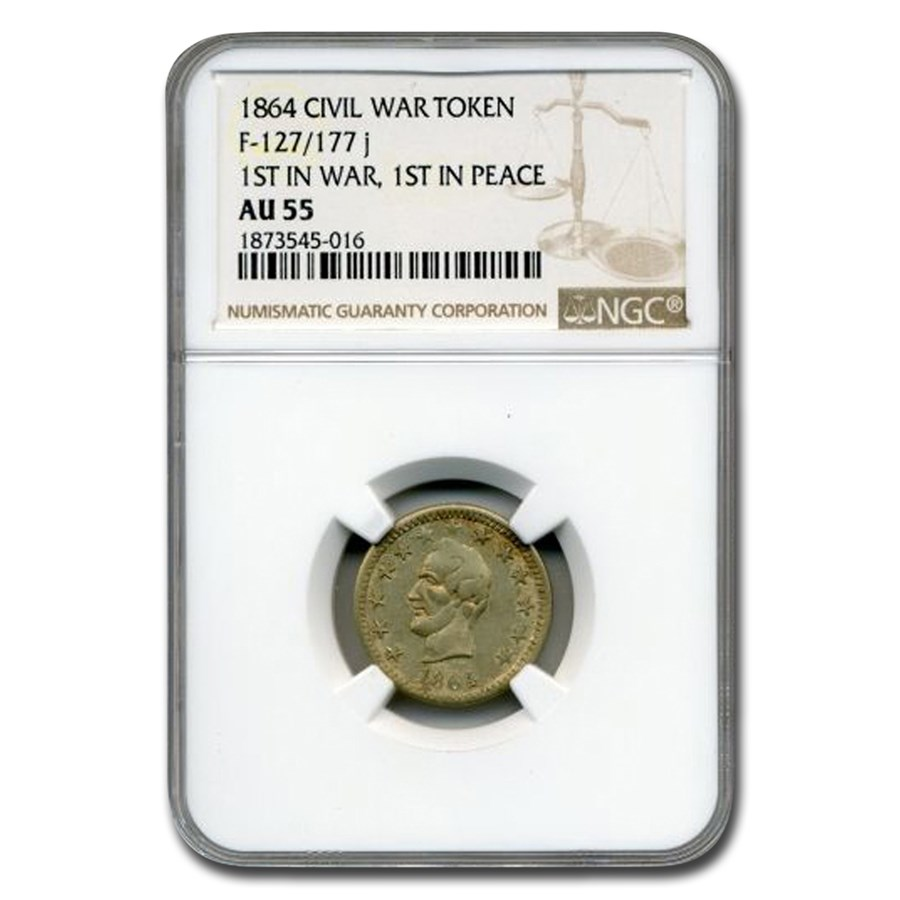 1864 Civil War Token Abraham Lincoln AU-55 NGC