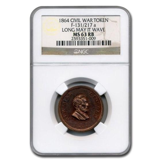 1864 Civil War Token Abraham Lincoln MS-63 NGC (Red/Brown)