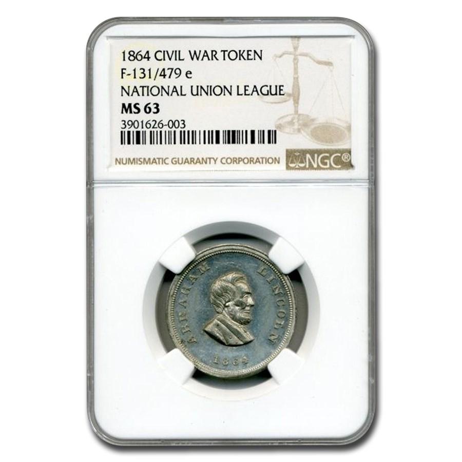 1864 Civil War Token Abraham Lincoln MS-63 NGC