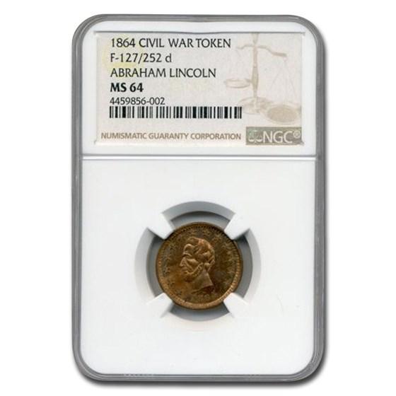 1864 Civil War Token Abraham Lincoln MS-64 NGC (F-127)