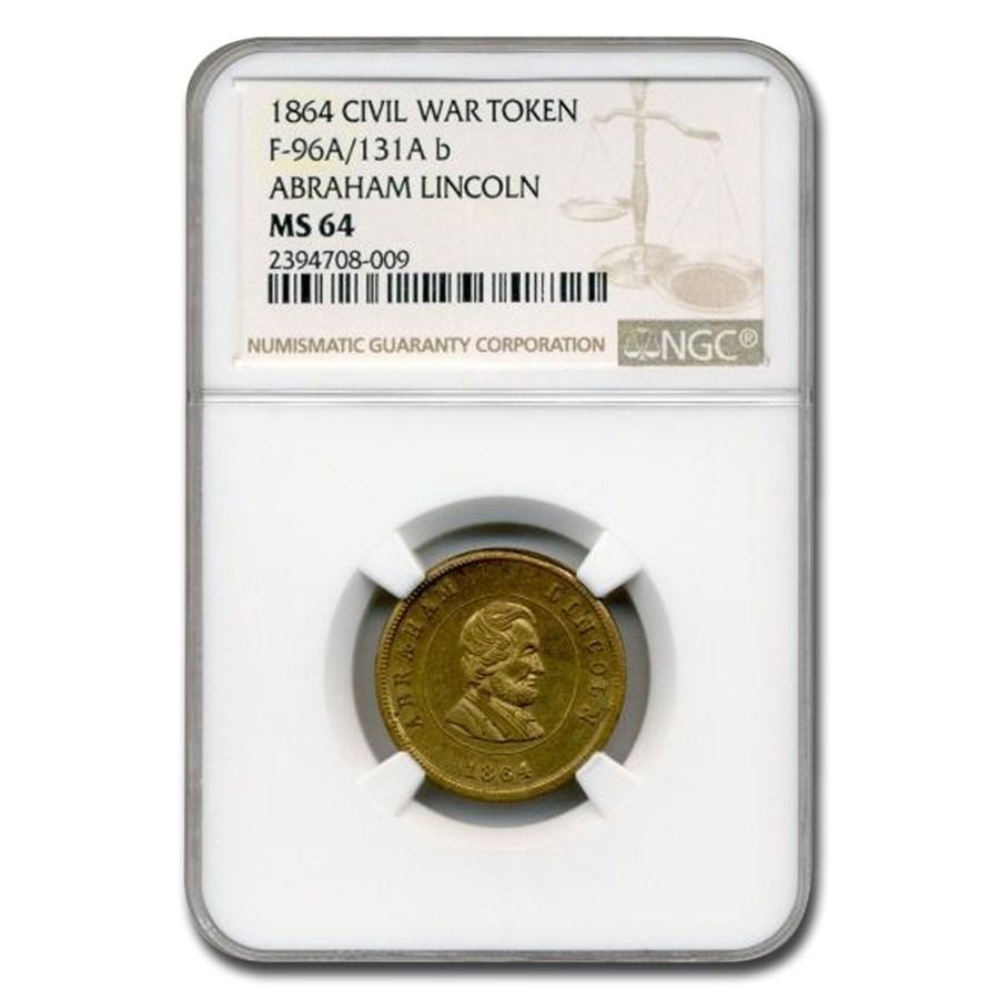 1864 Civil War Token Abraham Lincoln MS-64 NGC