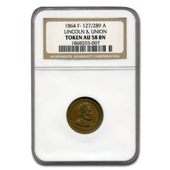 1864 Civil War Token Abraham Lincoln & Union AU-58 NGC (Brown)