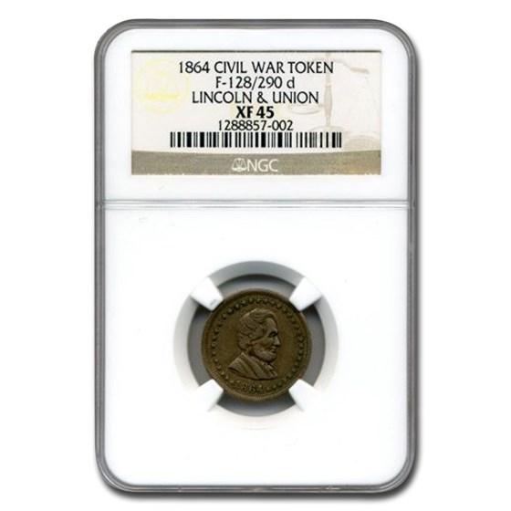 1864 Civil War Token Abraham Lincoln & Union XF-45 NGC