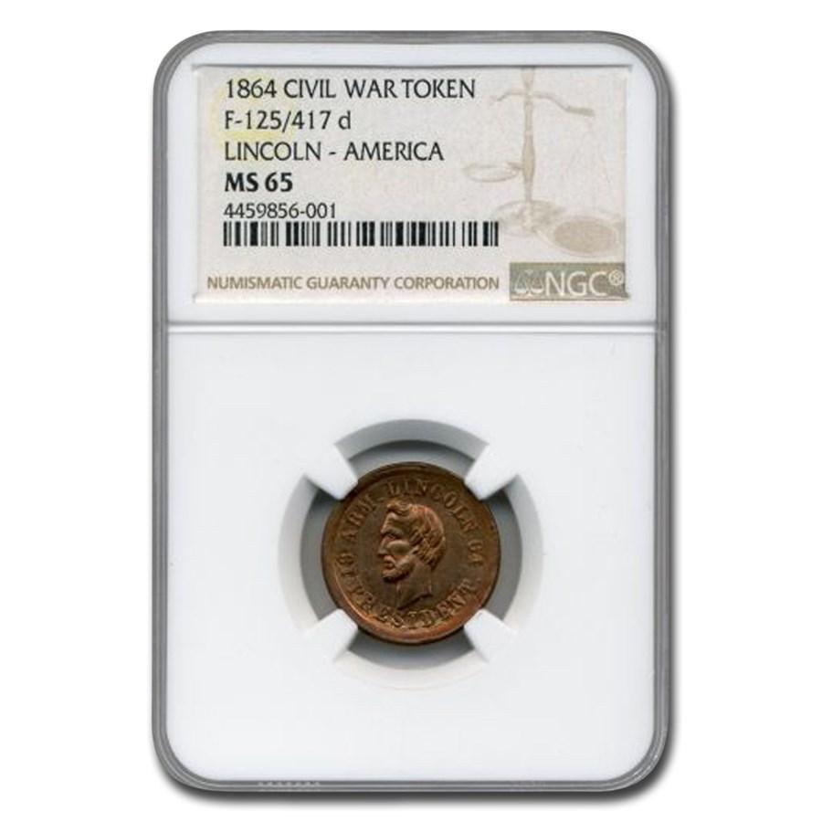 1864 Civil War Token Lincoln-America MS-65 NGC