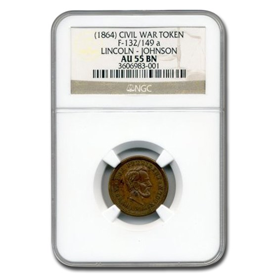 1864 Civil War Token Lincoln-Johnson AU-55 NGC (Brown)