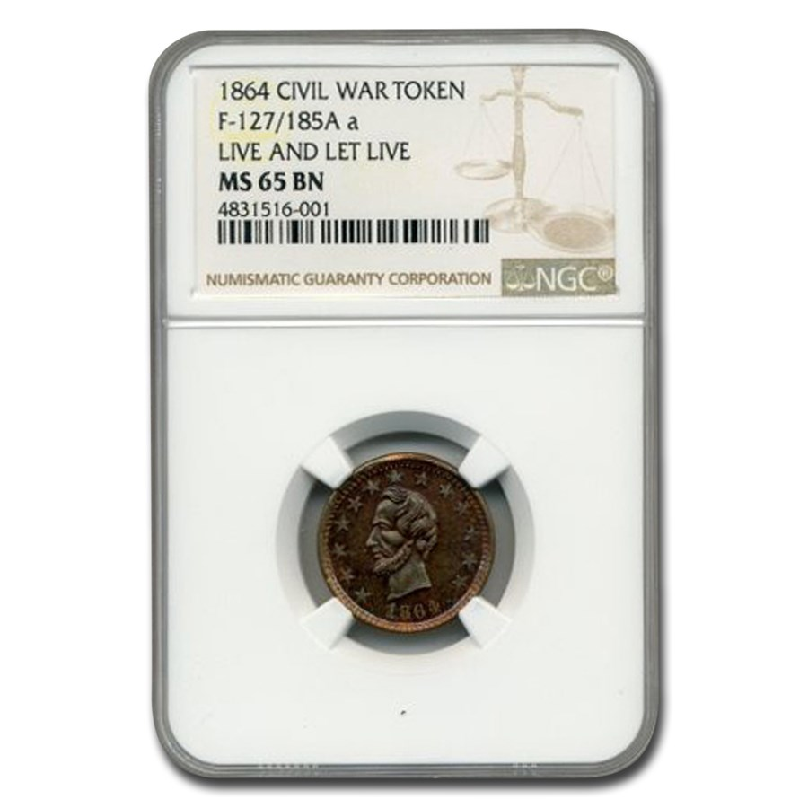 1864 Civil War Token Live and Let Live MS-65 NGC (Brown)