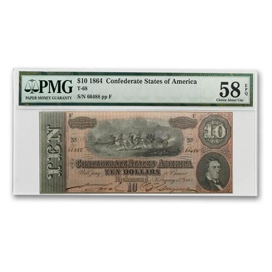 1864 CSA $10 (T-68) Horses Pull Cannon AU-58 EPQ PMG